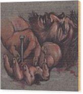 Jesus Being Crucified Wood Print