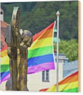 Jesus Christ Crucifixion And Gay Pride Flags View Wood Print
