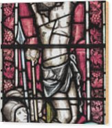 Jesus Christ Crucifixtion Stained Glass Wood Print