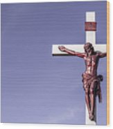 Jesus Crucifix Against The Sky Wood Print