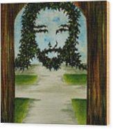 Jesus Face In Vines Wood Print