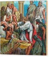 Jesus Healing The Sick Wood Print
