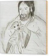 Jesus Holding Lamb Wood Print by Sonya Chalmers