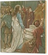 Jesus In Front Of Pilate Wood Print