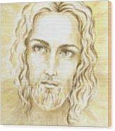 Jesus In Light Wood Print by Stoyanka Ivanova