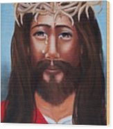 Jesus In Red Wood Print