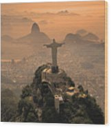 Jesus In Rio Wood Print by Christian Heeb