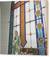 Jesus In The Church Window And School Girls In The Background Wood Print