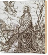 Jesus In The Garden Of Gethsemane Wood Print