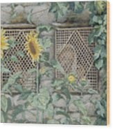 Jesus Looking Through A Lattice With Sunflowers Wood Print