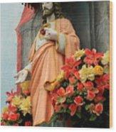 Jesus On Burano Wood Print