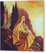 Jesus On The Mountain Wood Print