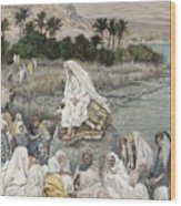 Jesus Preaching By The Seashore Wood Print