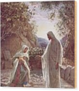 Jesus Revealing Himself To Mary Magdalene Wood Print