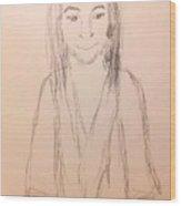 Jesus, Rough Sketch Wood Print