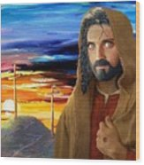 Jesus Sees Us Wood Print