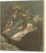 Jesus Sleeping During The Storm Wood Print by John Lawson