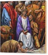 Jesus Tormented Wood Print