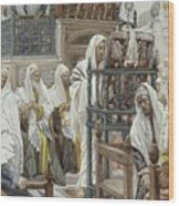 Jesus Unrolls The Book In The Synagogue Wood Print