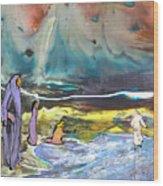 Jesus Walking On The Water Wood Print