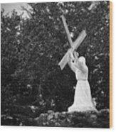 Jesus With Cross Wood Print