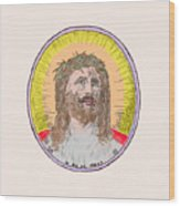 Jesus With The Crown Of Thorns Wood Print