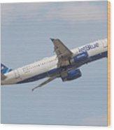 Jet Blue Wood Print