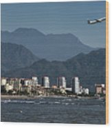 Jet Plane Taking Off From Puerto Vallarta Airport With Pacific O Wood Print