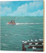 Jet Ski Seascape Wood Print