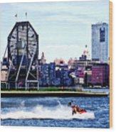 Jet Skiing By Colgate Clock Wood Print