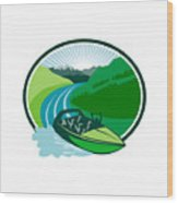 Jetboat River Canyon Mountain Oval Retro Wood Print