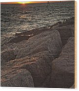 Jetties At Port Aransas Texas Gulf Coast Wood Print