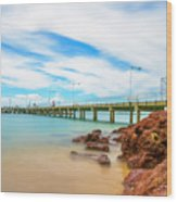 Jetty By The Sea Wood Print