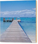 Jetty On The Beach, Mauritius Wood Print