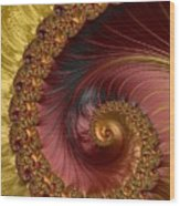Jewel Gold  Fractal Spiral  Wood Print