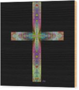 Jeweled Cross On Black Wood Print