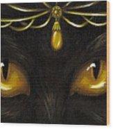 Jeweled Kitty Amber Wood Print