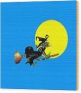 Jewish Flying Witch Wood Print