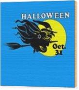 Jewish Halloween Witch Wood Print