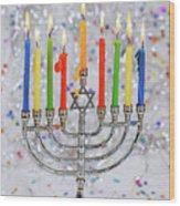 Jewish Holiday Hannukah Symbols - Menorah Wood Print