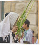 Jewish Sunrise Prayers At The Western Wall, Israel 6 Wood Print