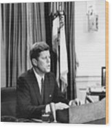 Jfk Addresses The Nation Painting Wood Print
