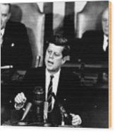 Jfk Announces Moon Landing Mission Wood Print by War Is Hell Store