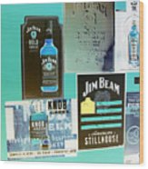 Jim Beam Signs On Display - Color Invert Wood Print