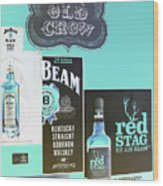 Jim Beam's Old Crow And Red Stag Signs - Color Invert Wood Print