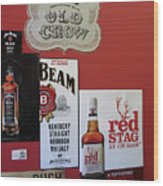 Jim Beam's Old Crow And Red Stag Signs Wood Print