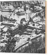 Jim Thorpe Pennsylvania In Winter In Black And White Wood Print