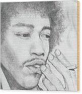 Jimi Hendrix Artwork Wood Print by Roly Orihuela