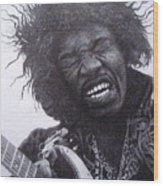 Jimi Hendrix Drawing Wood Print