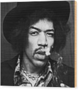 Jimi Hendrix Smoking 1968 Wood Print